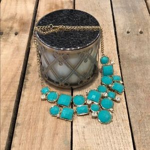 NWOT Fun Teal and Gold Statement Necklace